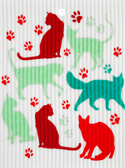 Cats & Paw Prints Wash Towel (MIN 6)
