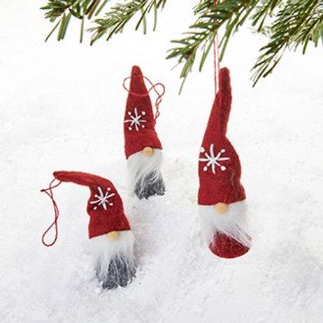 Red & Grey Gnome Ornaments, 3/box