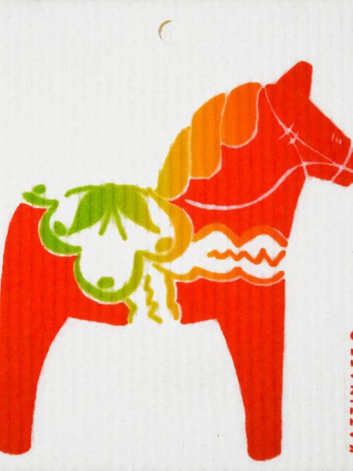 Red Traditional Dala Horse Wash Towel (MIN 6)