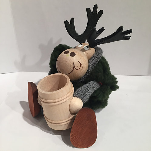Moose with Cup Figurine