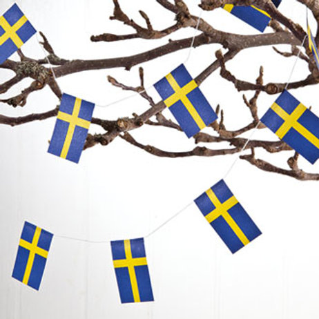 Swedish Flag Garland w/20 Flags, 2/bag
