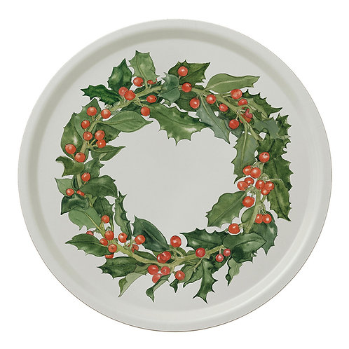 Holly Wreath Round Serving Tray