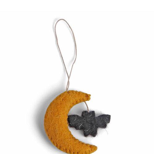 Moon w/Bat Ornament, Set of 3 (MIN 8)