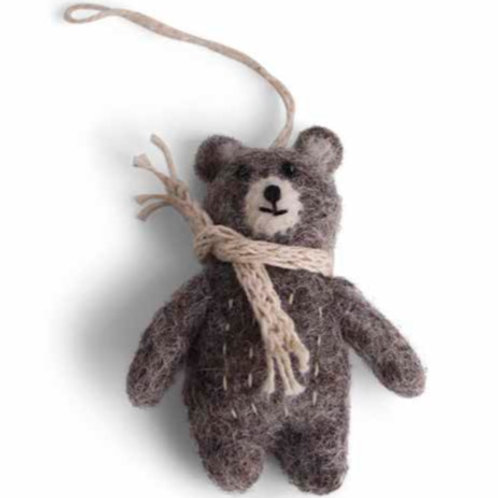 Mini Brown Bear Ornament w/Beige Scarf (MIN 8)