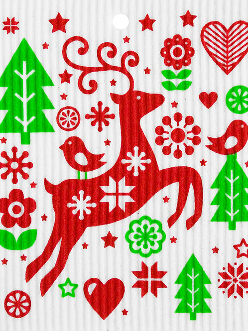 Red & Green Jumping Reindeer Wash Towel (MIN 6)