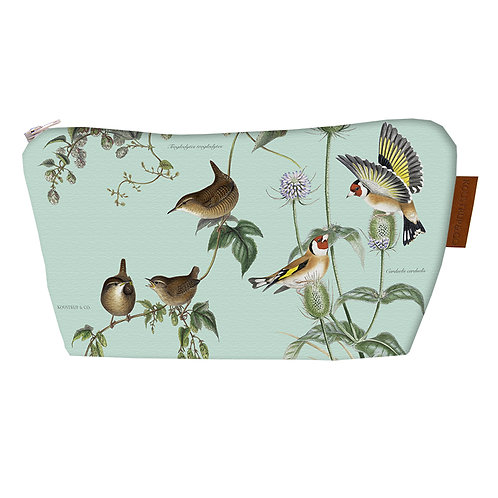 Gusseted Garden Birds Cosmetic Bag