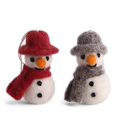 Classic Colors Mini Snowman w/Scarf Ornament, Set of 3 (MIN 8)