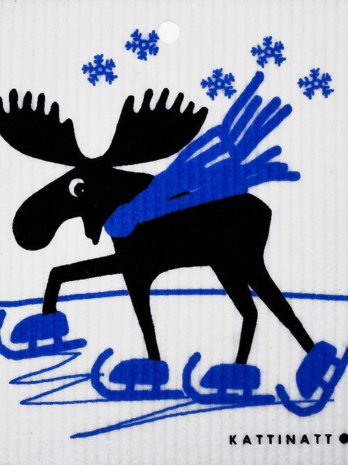 Moose on Skates Wash Towel (MIN 6)
