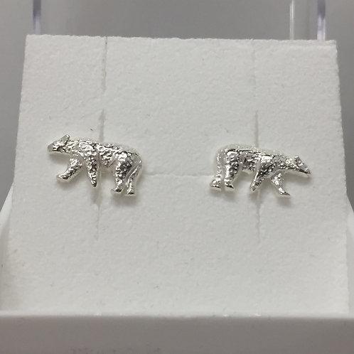Polar Bear Earrings on Post Back