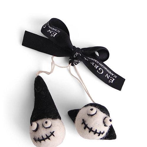 Dracula & Halloween Head w/Black Hat Ornament, Set of 2 (MIN 8)