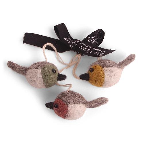 Colorful Mini Round Bird Ornaments, Set of 3 (MIN 8)