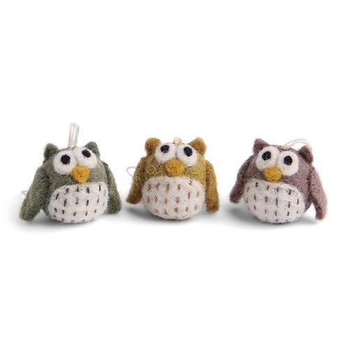 Burnt Colors Mini Owl Ornament, Set of 3 (MIN 8)