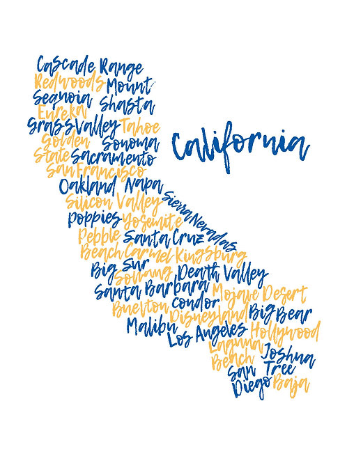 Blue & Gold California Words Wash Towel (MIN 6)