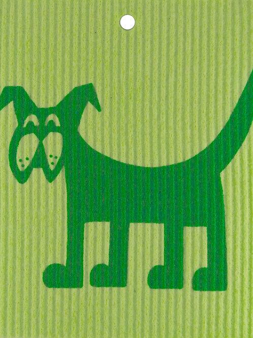 Green Dog on Light Green Wash Towel (MIN 6)