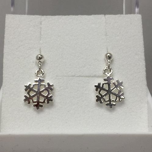Snowflake Earrings on Post Back