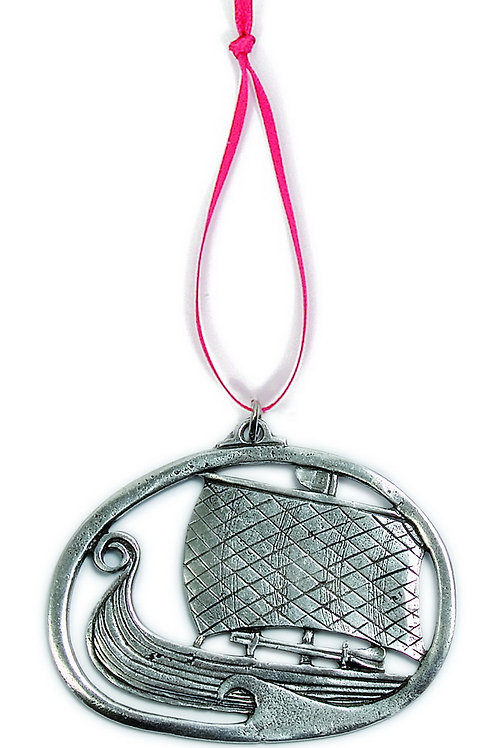 Viking Ship w/Sail Ornament