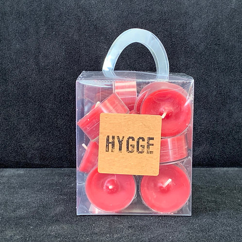 HYGGE Red Clear Cup Tealights in Box