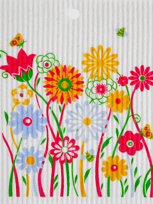 Colorful Flowers w/Bugs Wash Towel (MIN 6)