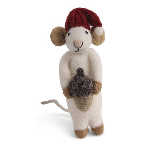White Mouse w/Acorn Ornament (MIN 6)