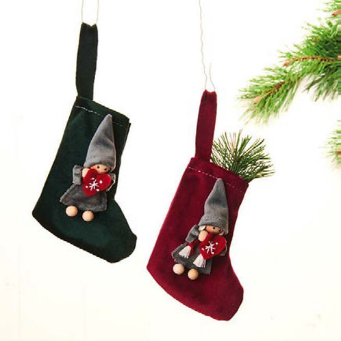 Red & Green Stocking Ornament w/Pixie