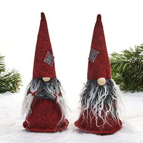 Red & Grey Gnomes w/Patchwork Hats, 2/pkg