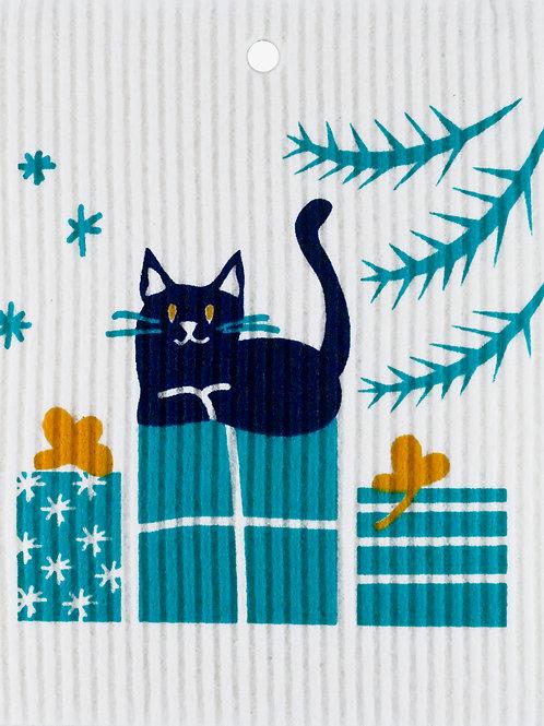 Cat on Presents Wash Towel (MIN 6)