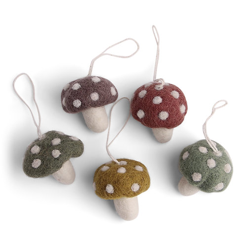 Burnt Colors Mushroom Ornament, Set of 5 (MIN 8)