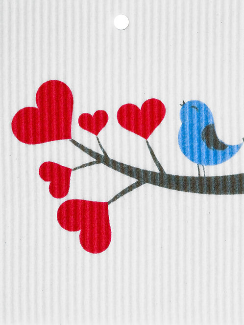 Bird on Heart Branch Wash Towel (MIN 6)