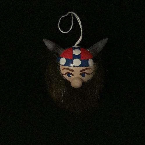 Viking Head Ornament w/Norway Helmet
