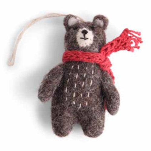 Mini Grey Bear Ornament w/Red Scarf (MIN 8)