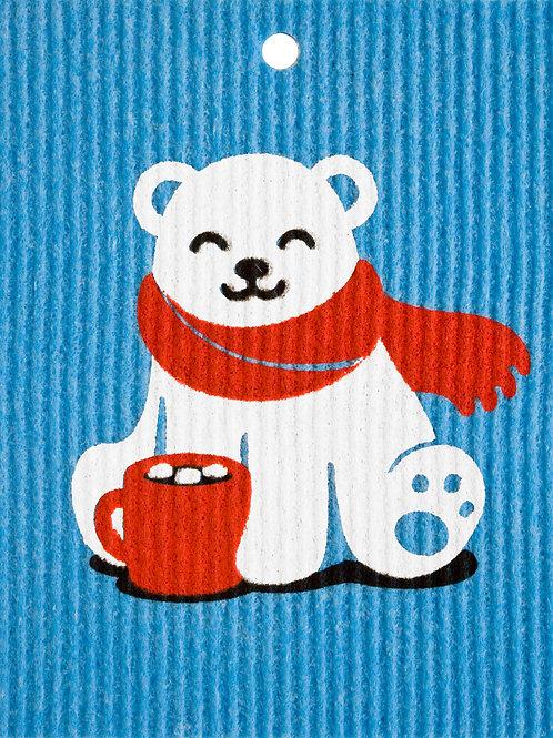 Polar Bear w/Hot Chocolate on Blue Cloth Wash Towel (MIN 6)