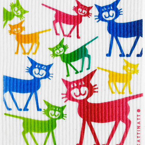 Large Multicolor Cats Wash Towel (MIN 6)