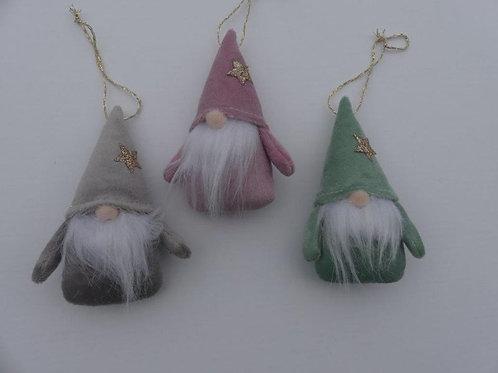 Grey, Pink & Green Santa w/Beard Ornament, 3 Assorted