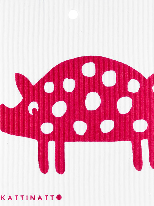 Red Polka Dot Pig Wash Towel (MIN 6)