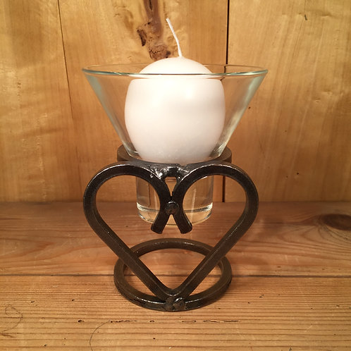 Single Heart Candleholder w/1 Glass Cup