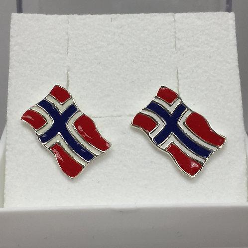 Norwegian Flag Earrings on Post Back