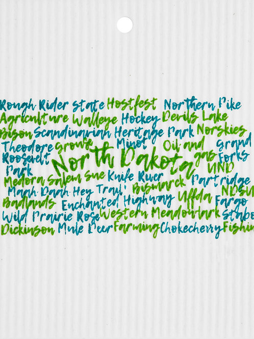 Green & Teal North Dakota Words Wash Towel (MIN 6)