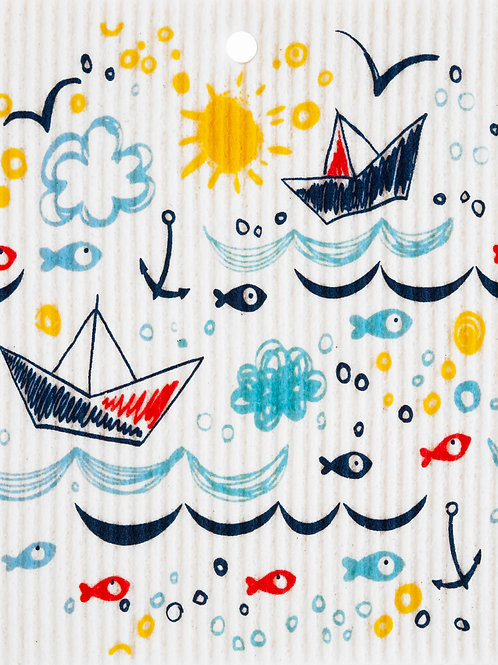 Sailboats & Fish Wash Towel (MIN 6)
