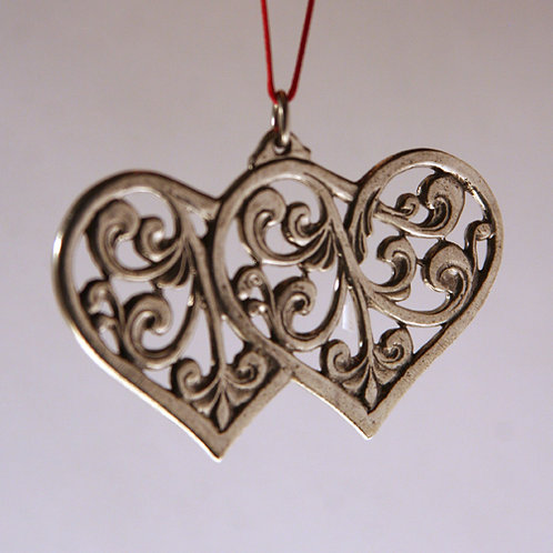 Double Rosemaling Heart Ornament