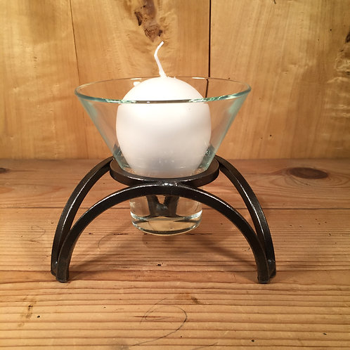 Low Tripod Arch Candleholder w/1 Glass Cup