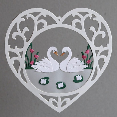 Swan Couple in Heart Mobile