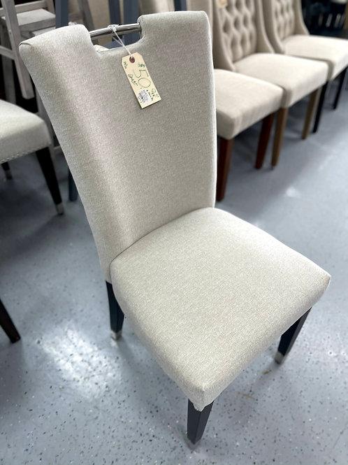 W177 Parsons Chair - Beige Fabric Wood Legs Metal
