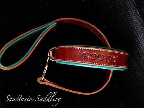 Collier chien Marron/Turquoise