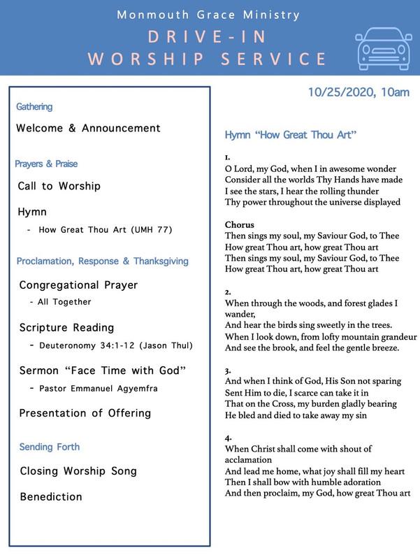 10-25-2020 - Drive in Worship Bulletin p