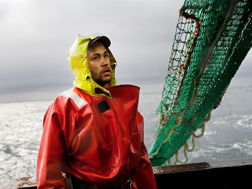 Neymar of PSG working as a trawlerman