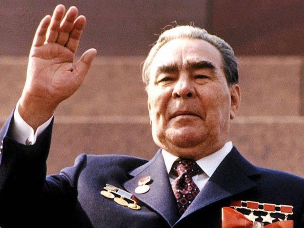 Leonid Brezhnev waving