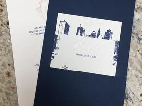 Rose Gold Invitation and Navy Pocket