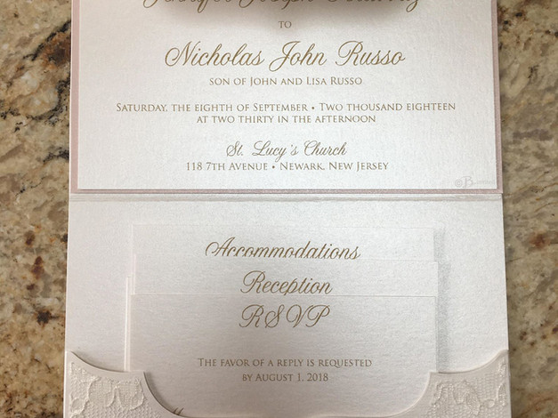 Thermography Invitation in a Shimmer Lace Pocket