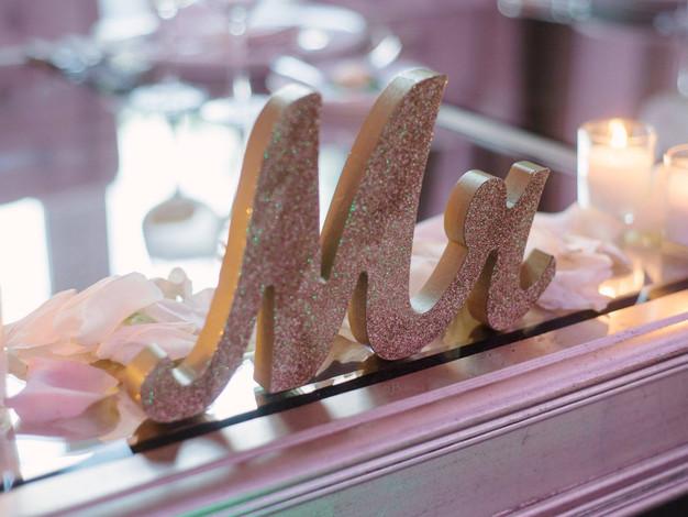 Gold Glitter Mrs. Sign