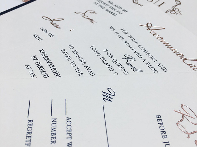 Rose Gold Foil Invitation Set Closeup